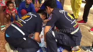 Newborn baby boy rescued after being abandoned on building site - Video