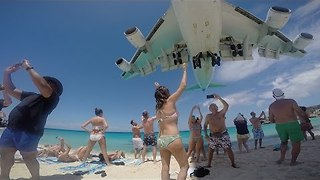 Crazy Cool Angle of Plane Approaching Maho Beach - Video