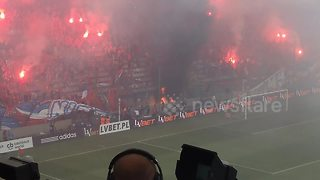 Polish football fans accidentally ignite stadium - Video