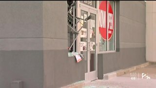 Property damaged during protest near 71st and Memorial