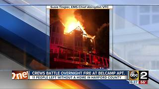 Crews fight overnight fire in apartment building - Video