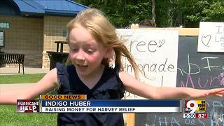 Five-year-old donates money from lemonade stand to Hurricane Harvey aid fund - Video