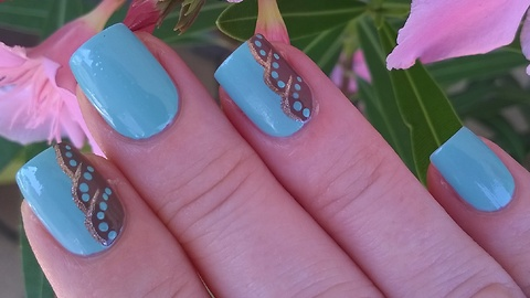 Elegant Blue & Brown Nail Design With Gold Decoration