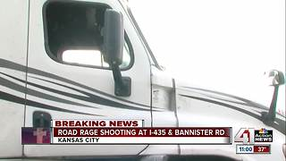 Road rage shooter fires at semi on I-435, police say - Video