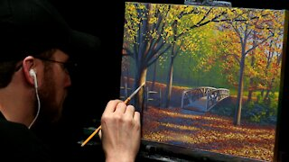 Acrylic Landscape Painting of Autumn Trees and Bridge - Time-lapse - Artist Timothy Stanford