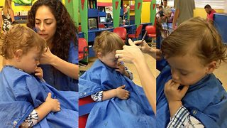 First Haircut Sends Sleepy Toddler Into Dreamland As He Dozes Off On The Chair Mid-Snip - Video
