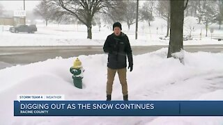 Racine County residents digging out as storm continues