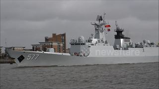 Chinese Navy stealth frigates head up River Thames to London - Video