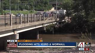 Indian Creek bridge OK after floodwaters rushed over it - Video