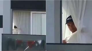Cristiano Ronaldo was filmed at the window in Madeira and played with paparazzi
