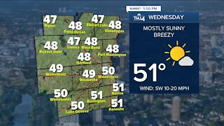 Chilly Tuesday night ahead, temperatures around 50 expected Wednesday