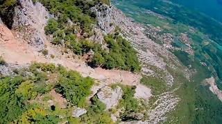 Extreme wingsuit proximity flight over Italian Alps