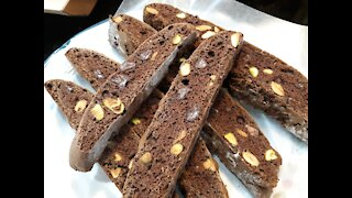 Homemade Double Chocolate Pistachio Biscotti
