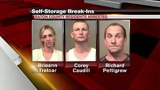 Three charged in rash of self-storage facility break-ins - Video