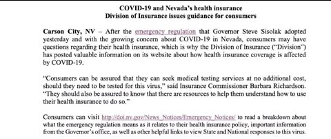 Statement issued regarding COVID-19 and health insurance