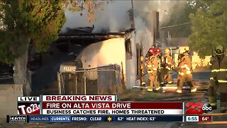 Fire threatens homes in East Bakersfield Monday morning