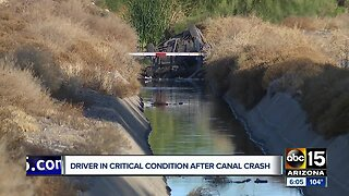 Driver in critical condition after canal crash