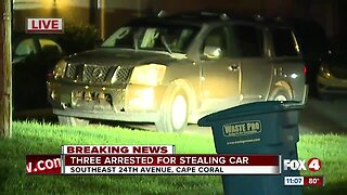 Cape Coral Police arrest three suspects for stealing a vehicle