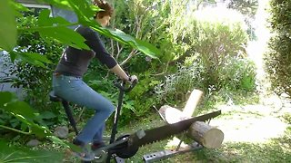 Man makes bizarre pedal saw with exercise bike