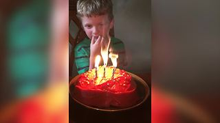 Birthday Boy Nearly Starts A Fire - Video