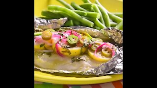 Fish Wallpaper with Green Bean Salad