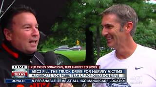 Matt Stover stops by Harvey donation drive - Video