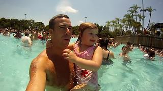 Toddler Girl's Hilarious Reaction To Her First Wave Pool - Video