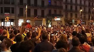 Supporters of Catalan Independence Gather in Central Barcelona - Video