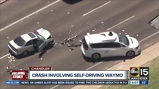 Vehicle crashes into Waymo vehicle in Chandler - Video