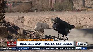 Homeless camp eyed for crime and other problems near the strip - Video