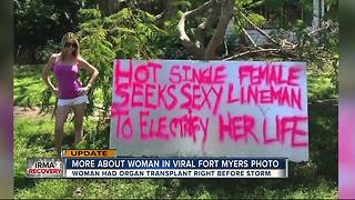 Woman creates sign to get power back on - Video