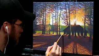 Acrylic Landscape Painting of Fall Forest & Pavilion - Time-lapse - Artist Timothy Stanford