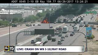 Semi-truck fire at Interstate 10 and Ray Road in Chandler - Video