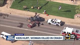 Children hurt, woman killed in serious crash in Phoenix