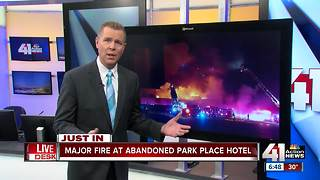Abandoned KCMO hotel goes up in flames - Video