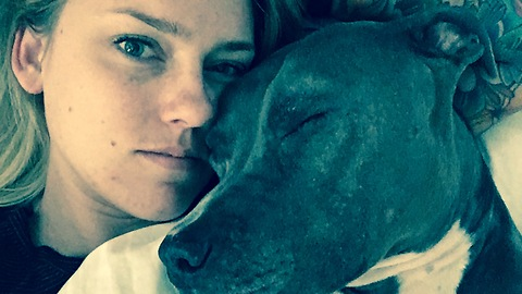 Snuggling with a pitbull
