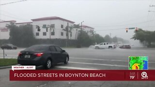 Strong storms hit Delray Beach, creates street flooding