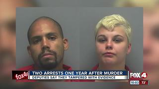 Deputies arrest two people for tampering with evidence one year after murder - Video