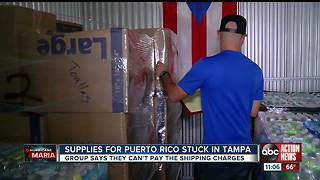 Donated supplies for Puerto Rico stuck in Tampa storage facility - Video