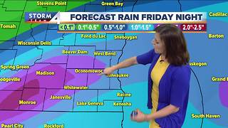 Showers and storms early Friday morning