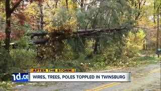 Nearly 10,000 Twinsburg-area customers without power due to fallen poles - Video