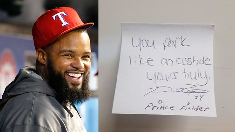 """Prince Fielder Calls Guy an """"A**hole"""" for Bad Parking Job"""