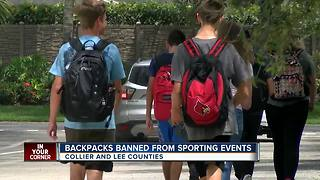 Backpacks banned from Collier, Lee school sports