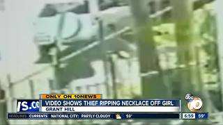 Video shows thief ripping necklace off girl - Video