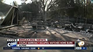Couple narrowly escapes Alpine fire; Watches home burn - Video