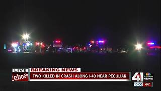 Two dead in crash on I-49 in Peculiar, Missouri - Video