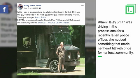 UPS Driver Gets Out Of Truck To Honor Fallen Officer As Processional Drives By