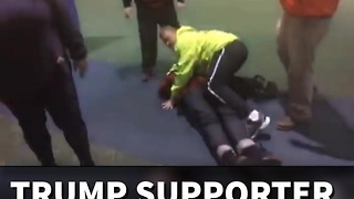 Trump Supporter Beaten Airport - Video