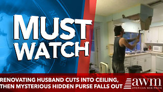 Renovating Husband Cuts Into Ceiling, Then Mysterious Hidden Purse Falls Out With Photo Album - Video