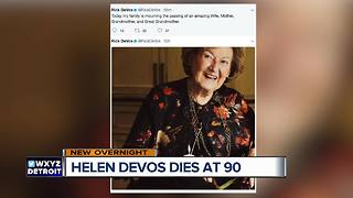 Helen DeVos, who backed health, education causes, dies at 90 - Video